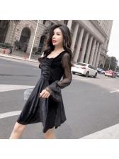 Charming Gauze Patchwork Velvet Square Neck Black Dress
