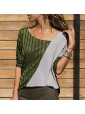 Stylish Contrasting Color Patchwork Wholesale Woman T-Shirt