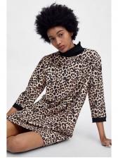 New Arrival Leopard Print High Neck Fashion Dress