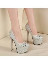 Round Toe Platform Women Heels Pumps Stiletto Girls