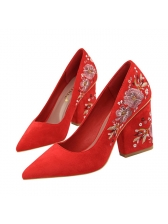 Vintage Style Embroidery Pointed Wholesale Pumps