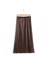 Fashionable Slit Pleated Elastic Midi Skirt