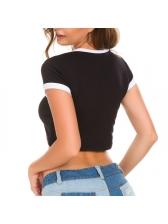 Crew Neck Contrast Color Crop T-Shirt For Women