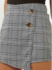 Euro Plaid Irregular Hot Shorts For Woman