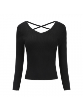 V-neck backless solid fitted wholesale woman sweater