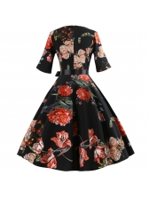 New Arrival Printed Fitted Vintage Dress With Belt