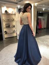Foil Printing Patchwork Sleeveless Evening Dresses