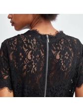 Zipper Hollow Out Lace Short Sleeve Dresses