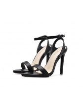 Euro Pointed a-Buckle Straps Black Heel Sandals