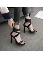 Stylish Bandage PVC Black Heel Wholesale Sandals