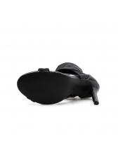 Roma Style Open Toe Black Heel Pumps Shoes