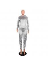 Faux Fur Collar Velvet Sequined 2 Piece Pant Sets