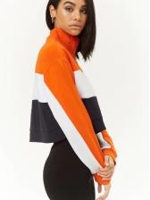 Euro Contrasting Colors Zipper Cropped Sweatshirt