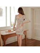 Elegant Ladies Twist Fitted Floral Dresses