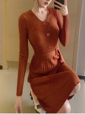 V Neck Buttons Smart Waist Knitted Dress