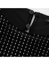Dots Crew Neck Backless Velvet Dress