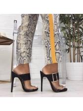 Euro PVC Black Heel Big Buckle Female Sandals