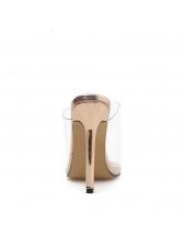New Arrival Pvc High Heel Tan Pumps
