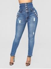 Chic Button Worn Out Dark Blue Denim Jeans