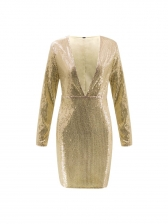 Hot Sale Solid Sequined Fitted Women Sexy Dress