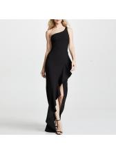 Inclined Shoulder Irregular Ruffle Womens Black Maxi Dress