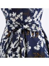 Chic Printed Crew Neck Tie Wrap Vintage Dress
