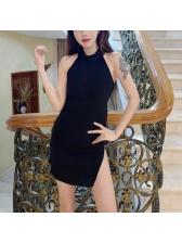 Knitted Slit Halter Fitted Dresses