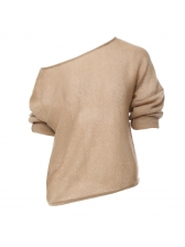 Inclined Shoulder Loose Plain Wholesale 7 Clothing