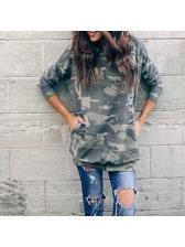 Euro Crew Neck Camouflage Loose Long Sweatshirt