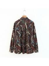 Fashion Chain Printed Binding Bow Blouse Design