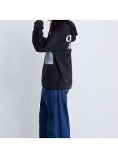 Preppy style printing black woman hoodies
