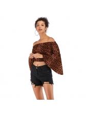 Hot Sale Leopard Print Off Shoulder Cropped Blouse