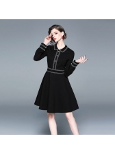 Doll Neck Fitted Long Sleeve Black A-Line Dress