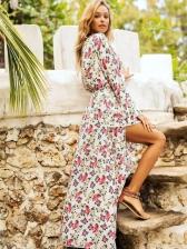 Printed Flare Sleeves Irregular Hem Full Length Maxi Dress