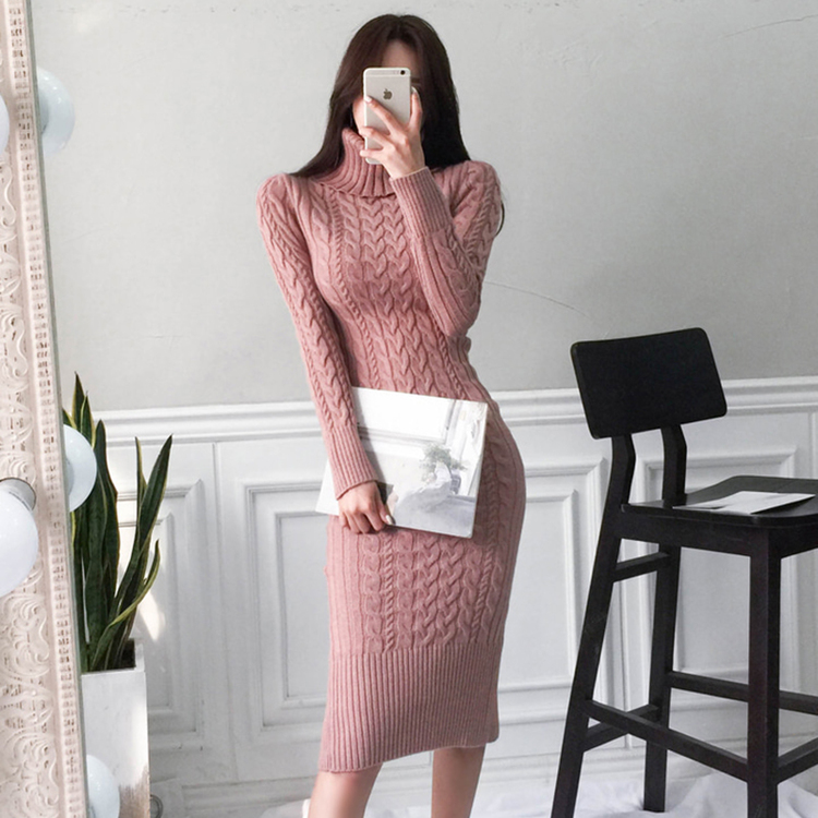 Cable Knitted Slit Fitted Turtleneck Dress