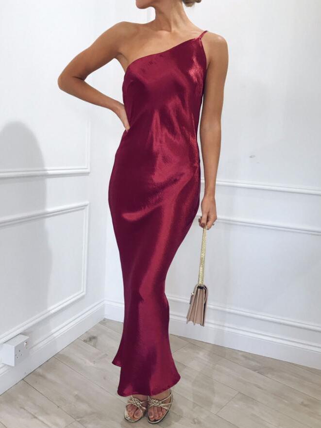 Hot Sale Spaghetti Strap One Shoulder Dress