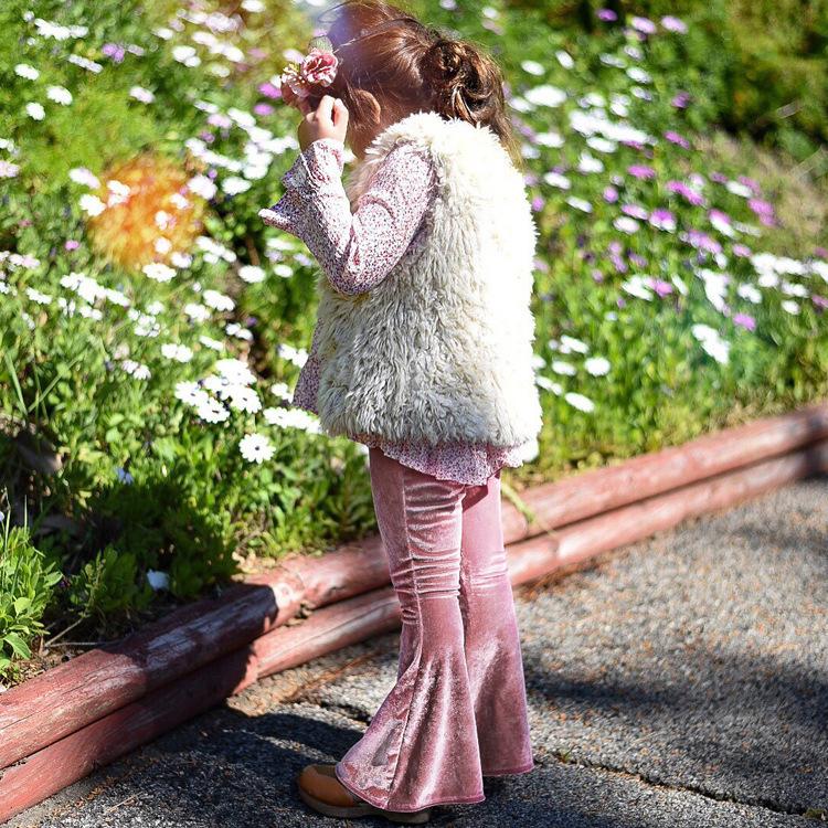 Fashion Velvet Flare Pants For Baby Girls