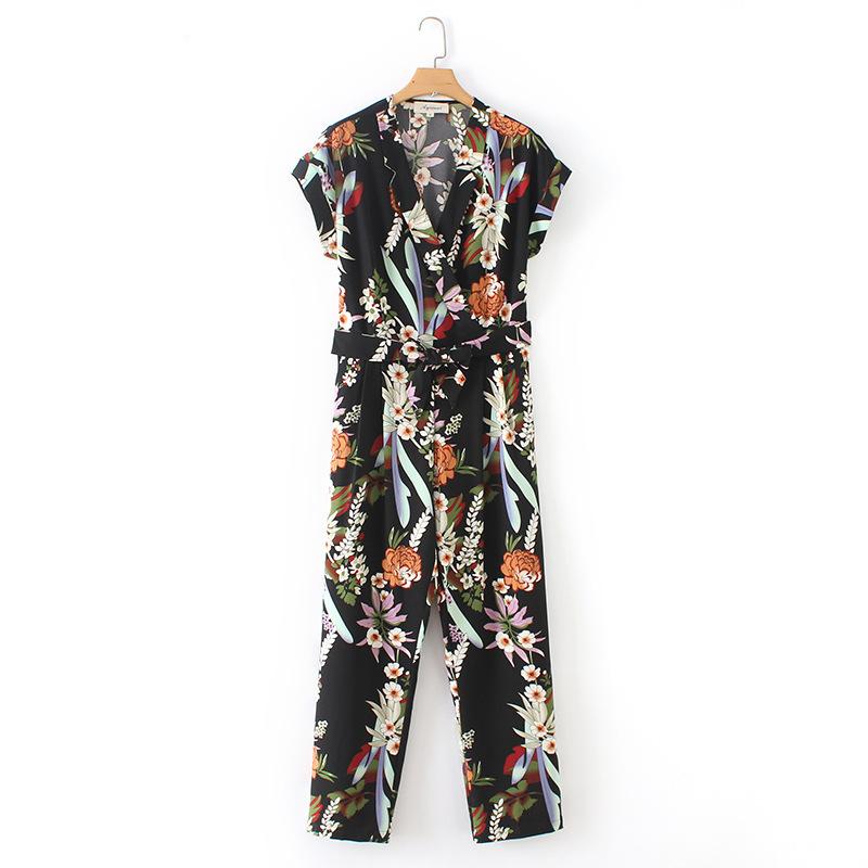 Floral V Neck Tie-wrap Casual Jumpsuits