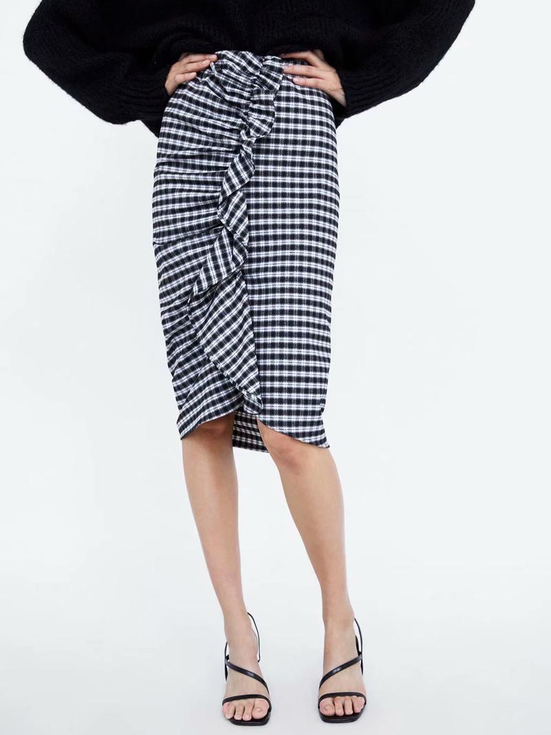 Stylish Plaid Ruffles Asymmetrical Skirt