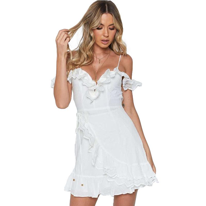 Euro Ruffles Patchwork Off Shoulder Sleeveless Dresses