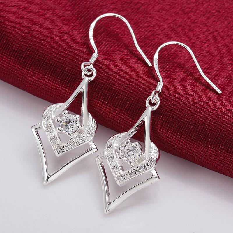 Creative Diamond Silvery Earrings For Lady