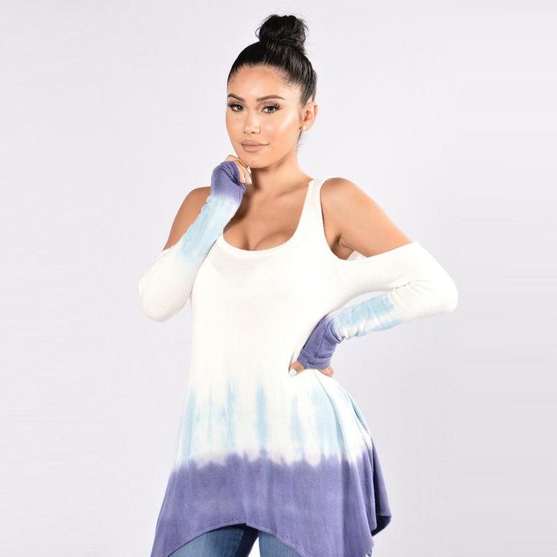 Cold Shoulder Low-Cut Gradient Color Long Sleeve T-Shirt