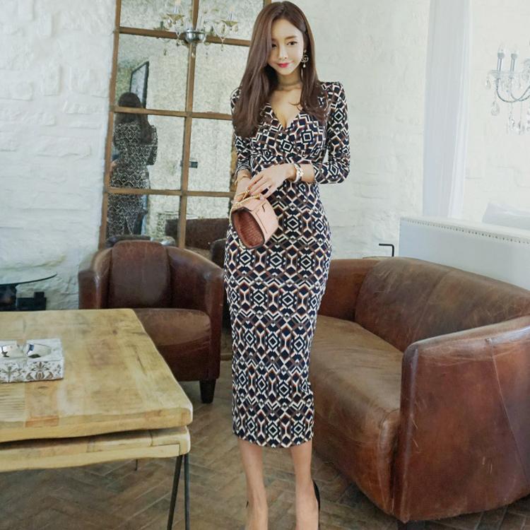 Korean V Neck Printed Fitted Ladies Maxi Dresses