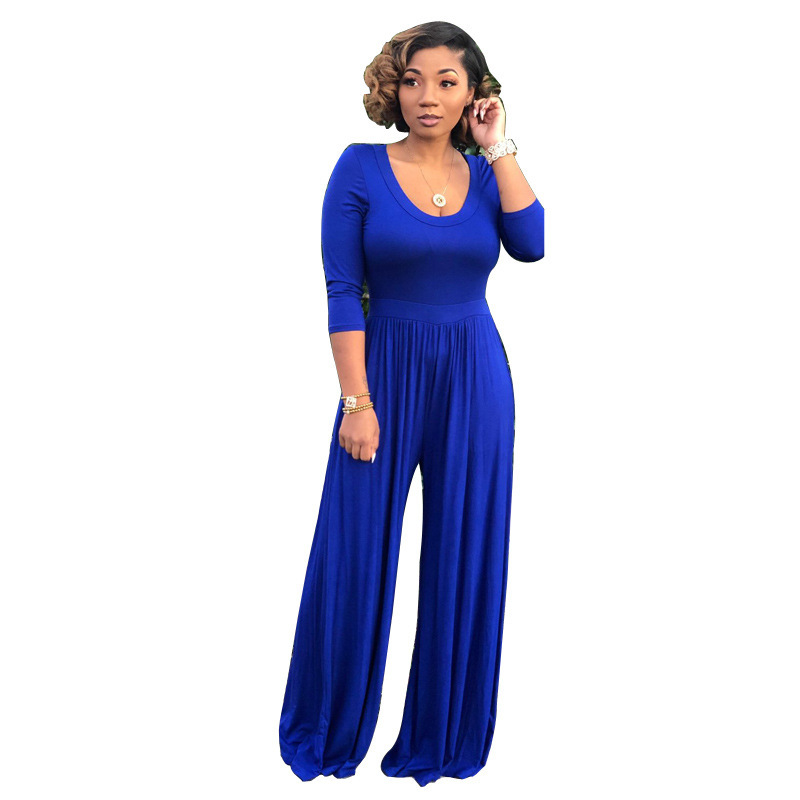 U Neck Fitted Long Sleeve Wide Leg Jumpsuit