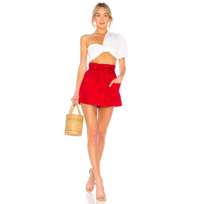 Euro Pocket Tie-Wrap Red Skorts For Women