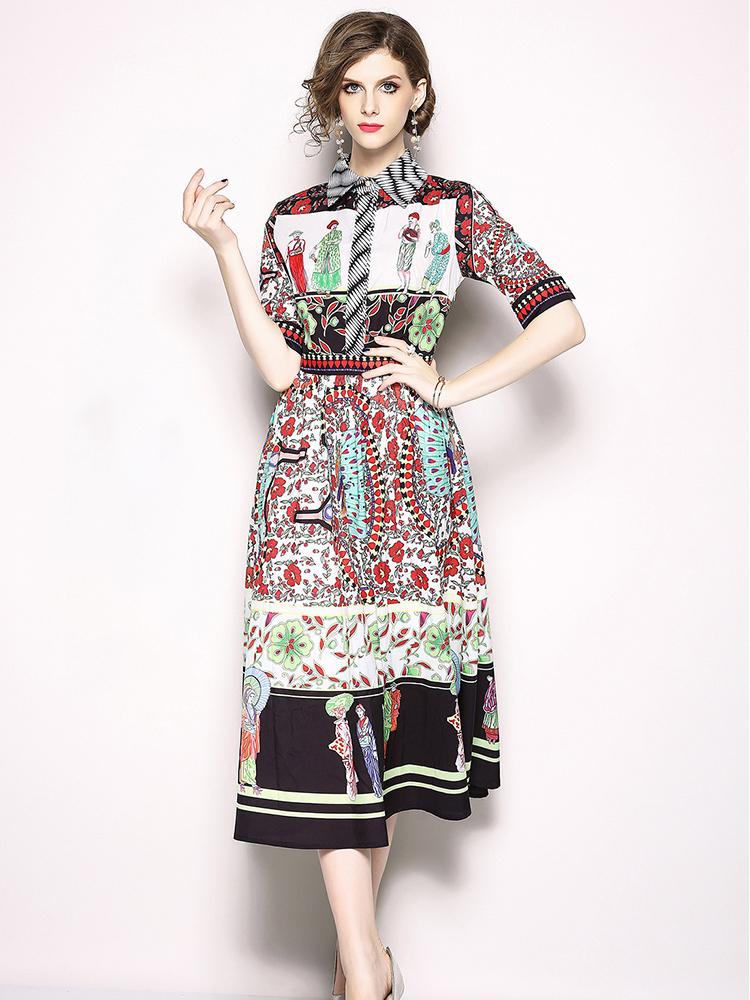 Euro Printed Spread Neck Large Hem Woman Dresses