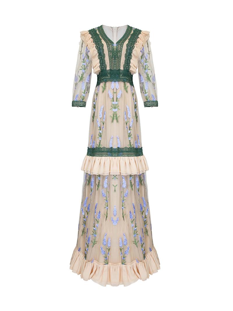 Boutique V Neck Embroidery Floral Lace Maxi Dress
