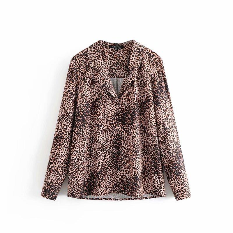 Stylish Leopard Printed Turndown Neck Blouse
