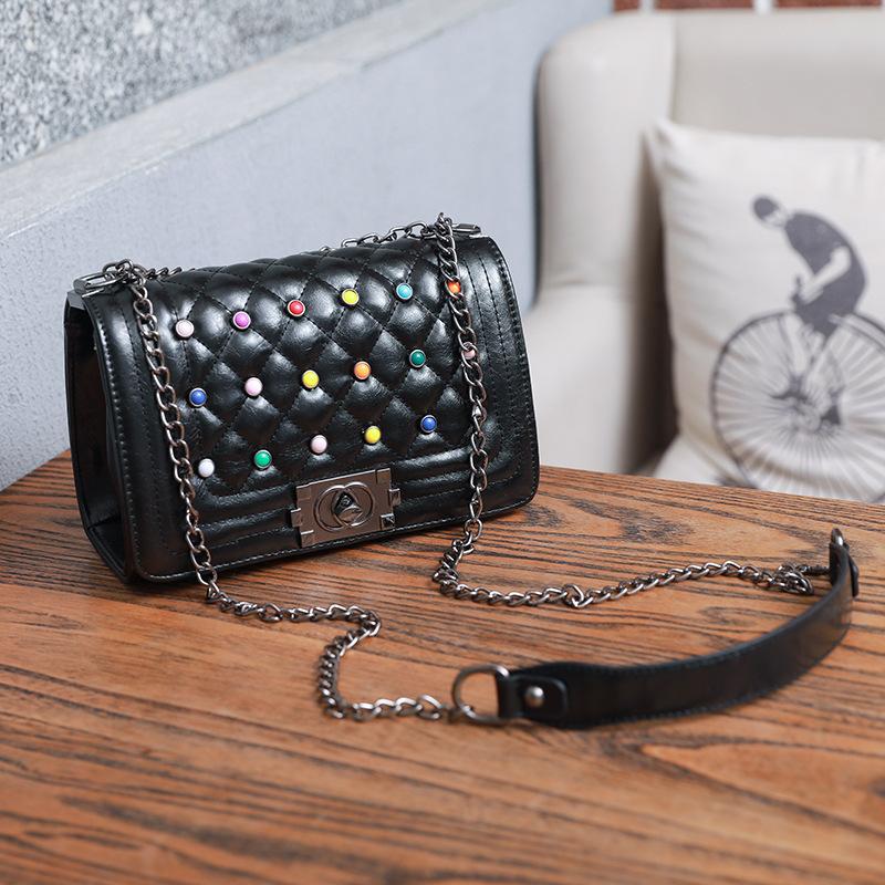 Colorful Rivets Diamond Pattern Shoulder Bag