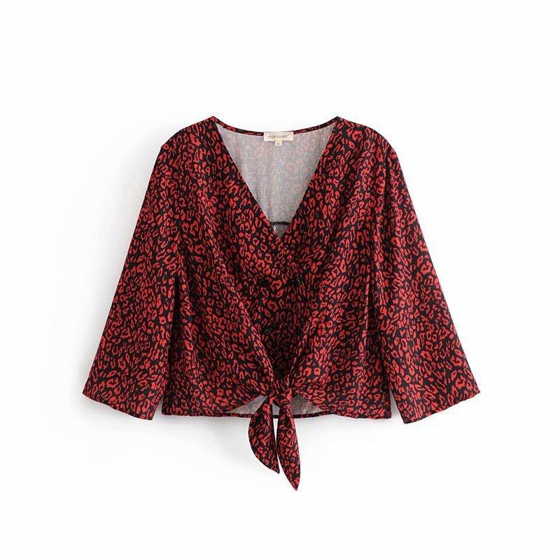 V Neck Leopard Print Tie-Wrap Short Blouse